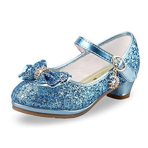 Zapatos de Lentejuelas de Niña Zapatos de Tacón Alto de Princesa Zapatos de Fiesta de Niños 27 EU/Tamaño de la Etiqueta 28 Azul