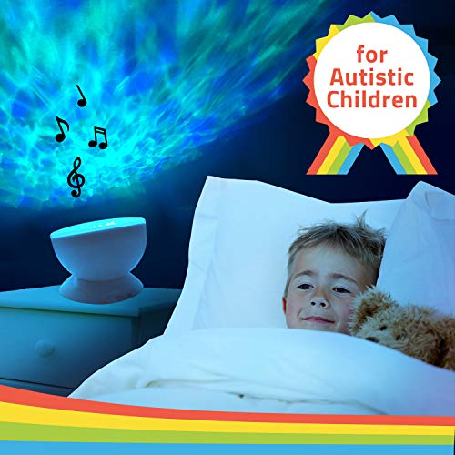 Autism Toys Kids Calming Ocean Wave Projector for Autistic Children - Music - AUX – for ASD Boys Girls Sleep Bedroom Room Decor - Visual Auditory Sensory Stimulation LED Night Light Water Lamp - Gift