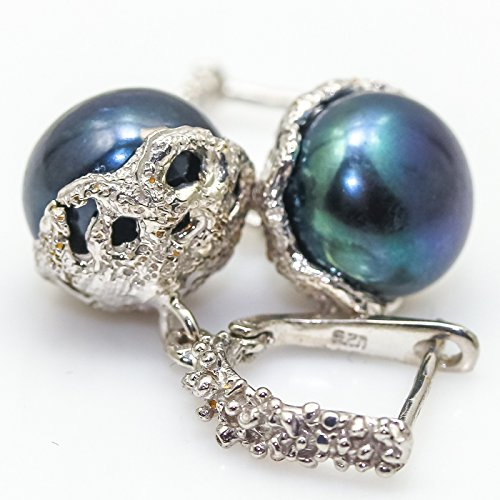 Beautiful jewelry Natural 14mm.Black Pearl 925 Shipping included Sterling E Max 55% OFF Silver