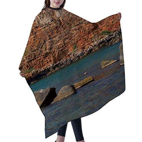 "SUPNON Professional Salon Cape Polyester Cape Hair Cutting Cape, Water And Stain Resistant Apron, 55""x66"", The Red Rocks And Cliffs Of Bola Bay And Beach Northern Black, IS114908"