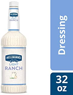 Hellmann's Light Ranch Salad Dressing Salad Bar Bottles Gluten Free, No Artificial Flavors, added MSG or High Fructose Corn Syrup, 32 oz, Pack of 6