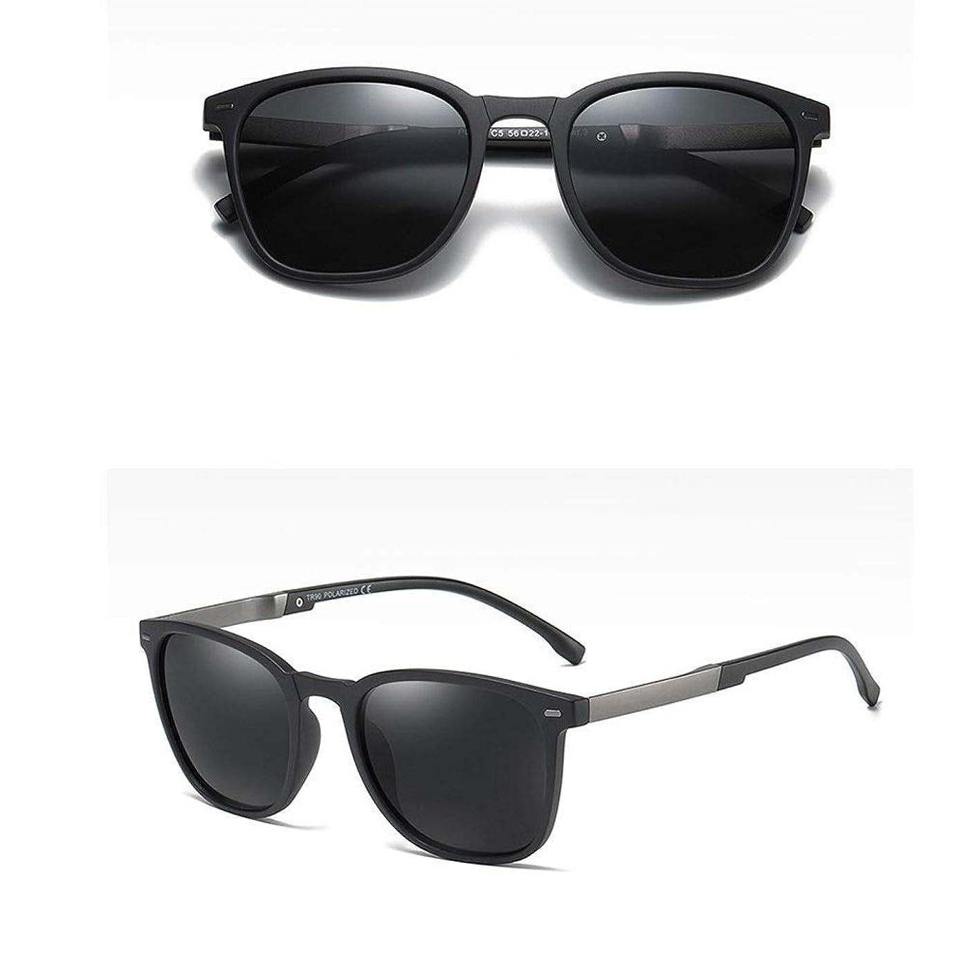 製作ロッジライトニングマットブラックフロントと偏光レンズを備えたメンズおよびレディースサングラス (色 : C)