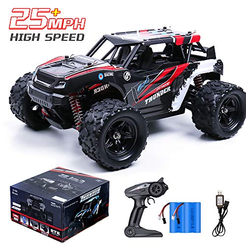 Remote Control Car, RC Truck 4X4 Off Road-All Terrain, 1/18 Scale 2.4Ghz 36+KM/H High Speed Drift Car, Remote Control Truck with 2x1200mAH Rechargeable Batteries, Toy RC Car for Kids & Adults