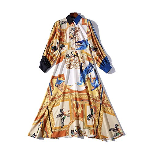 QUNLIANYI Ballkleid Lang Damen Tüll Handgelenk Ärmel Vintage Vogel Print Kleid Herbst Frauen Elegante Partei Midi Kleid Casual Damen Kleid XL
