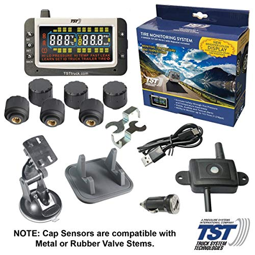 TST TST-507-RV-6-C 507 Series 6 RV Cap Sensor TPMS w/Color Display and Repeater | Wireless Tire Pressure & Temperature Monitoring System