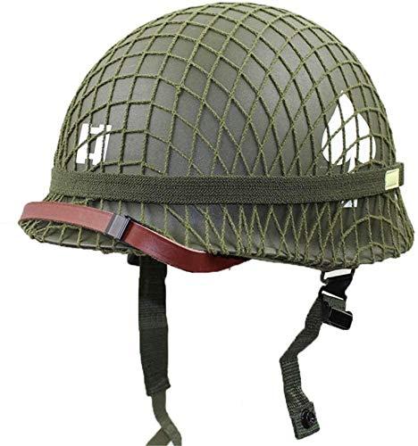 Yaad Perfect Copy of World War II U.S. M1 Green Helmet with Mesh/Canvas Chin Strap DIY Painting