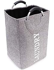 CLYCTIP tvättkorg, tvättkorg, tvättkorg med handtag, stor kapacitet, hopfällbar, lätt att bära (12,5 tum x 11 tum x 19,2 tum) (grå)