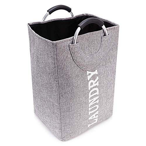 Cesta de lavandería CLYCTIP, Cesta de lavandería con asa, de gran capacidad, plegable, fácil de llevar (12.5''x11''x19.2'') (Gris)