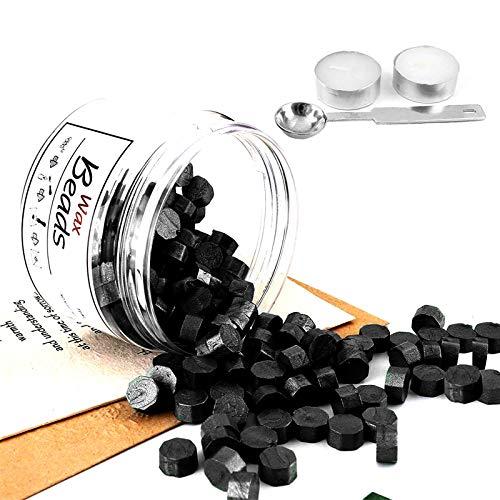 300 Stück Octagon Sealing Wax Beads 34 Farben mit 1 Stück Wax Melting Spoon für Wax Stamp Envelope Sealing (Schwarz)