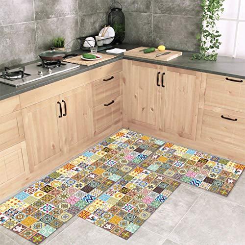 Tapete Passadeira Cozinha Mosaique Am 120x40 + 2 Capachos 60x40