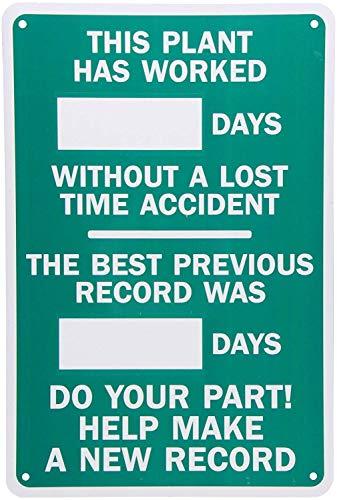 BCTS Panneau de signalisation « Legend Plant Worked_Days Without Accident-Best Record » - Blanc sur vert - Décoration de cour extérieure - 20,3 x 30,5 cm