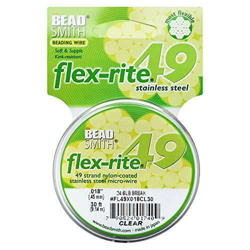 The Beadsmith Flex-Rite 49 Strand Nylon Coated, Stainless-Steel Beading Wire, Jewelry Making Supply (.018 Dia, Clear - 30 Ft)