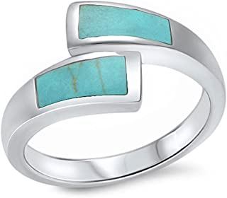 Bypass Wrap Half Eternity Fashion Ring Green Turquoise Solid 925 Sterling Silver