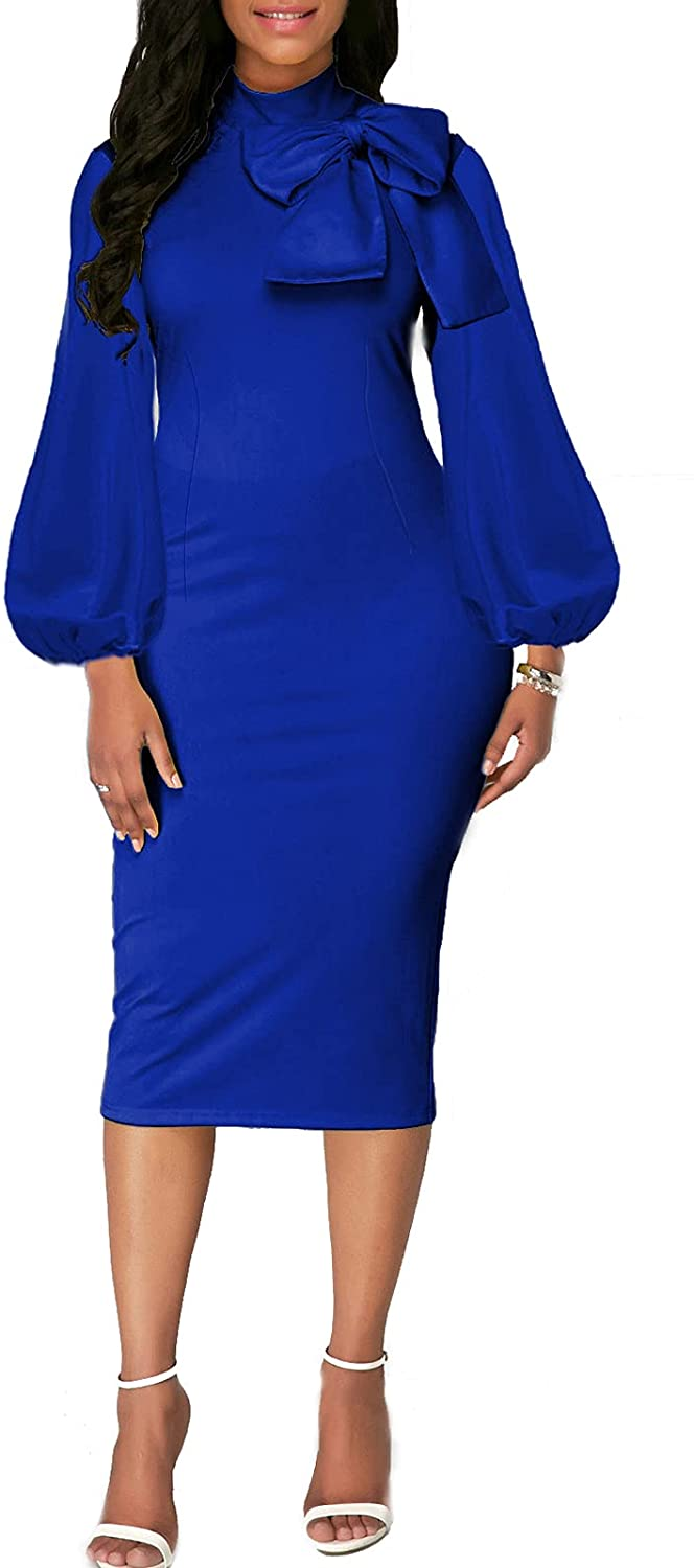 Women's Bodycon Pencil Dress Long Sleeve Vintage Bow Knot Work Casual Cocktail Party Sheath Midi Dresses