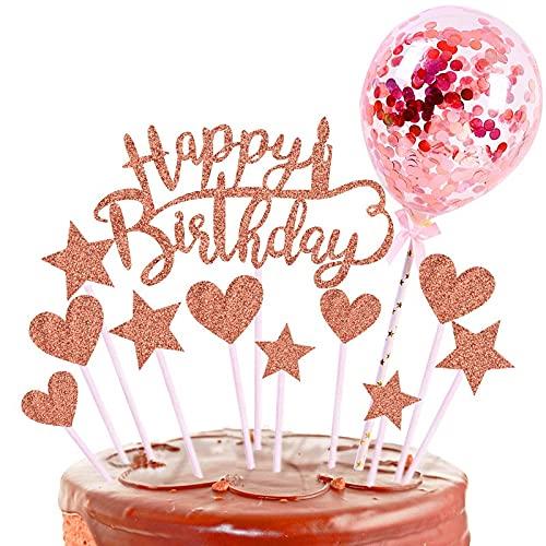 kairui ortendeko Geburtstag,Tortendeko Gold,Kuchendeko Geburtstag, Cake Topper Happy Birthday,Flagge auf dem Kuchen,Kindergeburtstagsfahnen,Papierfächer für Geburtstagstorte Dekoration (Rosa-1)