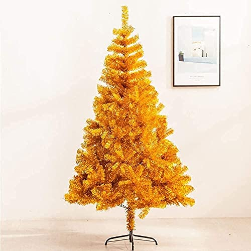 ZYDSN Árbol de Navidad Árbol de Navidad artificial respetuoso con el medio ambiente con bisagras doradas, soporte de metal alpino natural, árbol de Navidad decorado (color: dorado; tamaño: 180 cm)