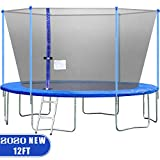 FDW 14FT Trampoline with Enclosure Net Ladder Outdoor Fitness Trampoline PVC Spring Cover Padding for Children and Adults
