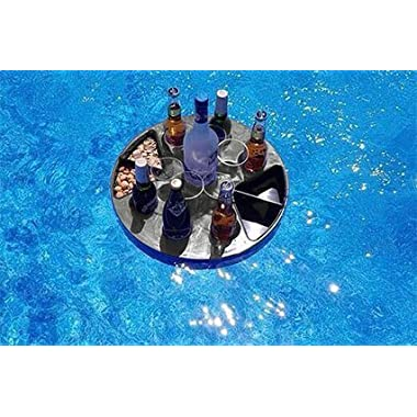 T-Bar Portable Bar Set – Floating Bar Perfect for Beach, BBQ, and Pool Party – Folding Serving Tray with Legs and Carrying Case