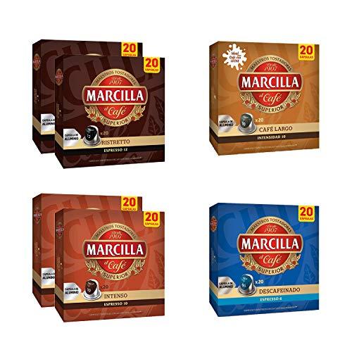 Paquete de cápsulas de café variadas Marcilla - Cápsula de café de aluminio compatible con Nespresso® * - 6 paquetes (120 cápsulas)