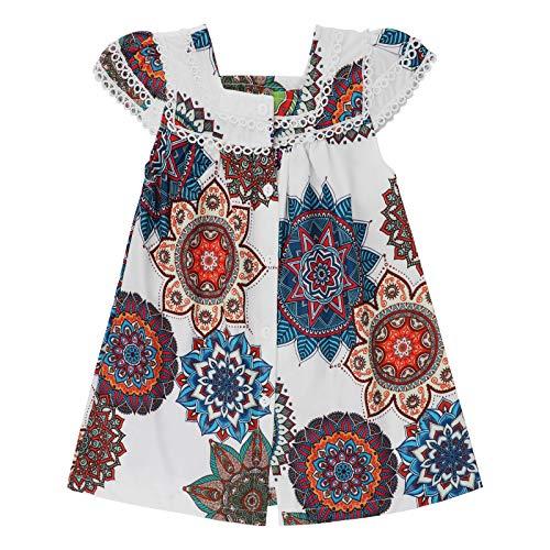 Vestidos Nias Casual Bohemia Princesa Disfraz Vestidos Bebe Nia Verano Vestido para Nios 1-6 aos (Blanco-B, 4-5 aos)