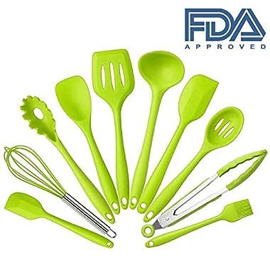 10 Pcs set Silicone Heat Resistant Kitchen Cooking Utensils spatula Non-Stick Baking Tool tongs ladle gadget by BonBon (Green)