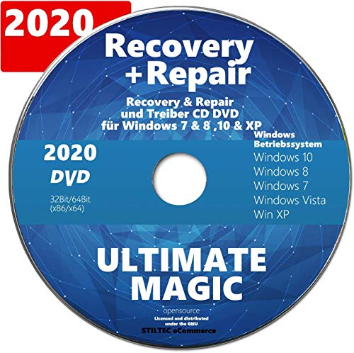 Recovery & Repair CD DVD für Windows 10 & 7 & 8 + Vista + XP PC REPARATUR NEU auf DVD