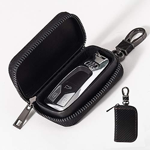 Aovaza Keyless Go Schutz Autoschlüssel, RFID Funkschlüssel Faraday Tasche, Signal Abschirmung Schlüsseltasche, Diebstahlschutzbox aus Ledermit Haken und Schlüsselring (Kohlefaser)