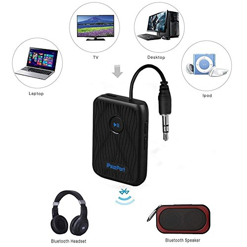 Price comparison product image iPazzPort Bluetooth 4.2 Wireless Portable Transmitter and Receiver,  2-in-1 Wireless 3.5 Adapter,  Bluetooth Dongle for Music Output for TV,  CAR,  PC