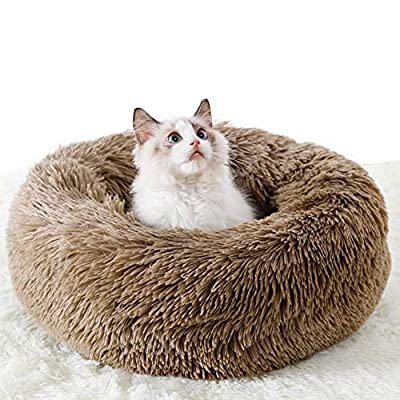 Awolf Marshmallow Cat Bed, Pet Beds Cozy Fur Donut Cuddler Round Warm Bed Improved Sleep - Orthopedic Relief- Washable, Self-Warming Dog Bed for Medium Small Dogs Puppy Kitty Kitten (M, Brown)