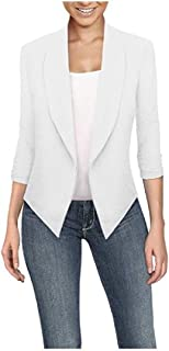 FSSE Womens x Solid 3/4 Sleeve Stylish Office Short Blazer Coat Cardigan