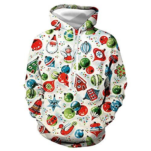 SHUAIFA Mens Womens Novelty Christmas Hoodie 3D Print Sweatshirt Pullover Pocket Tops M