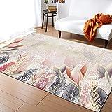 Milnsirk Tapis Design Moderne Poils Ras, Geometrique Grand Tapis Salon Différentes Tailles Et Coloris(Beige Rouge, 80 x 150 cm )