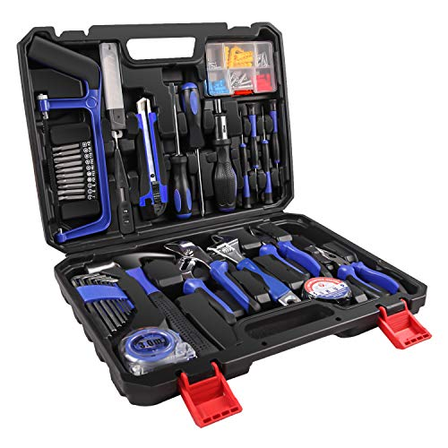 LETTON Home Repair Tool Sets with 21 accessories General Household Mixed Tool Set Hand Tool Kit with Plastic Toolbox Storage Case