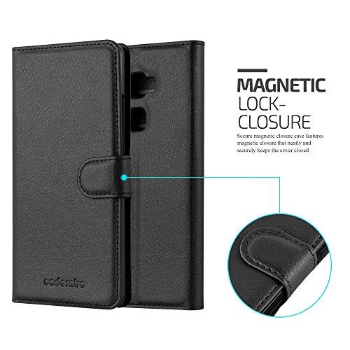 Cadorabo Hülle für Huawei Mate S - Hülle in Phantom SCHWARZ – Handyhülle mit Kartenfach und Standfunktion - Case Cover Schutzhülle Etui Tasche Book Klapp Style - 5