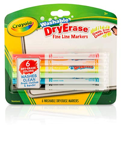 Crayola Dry Erase Markers, Fine Line, Classroom & School Supplies Assorted, 6 Pack