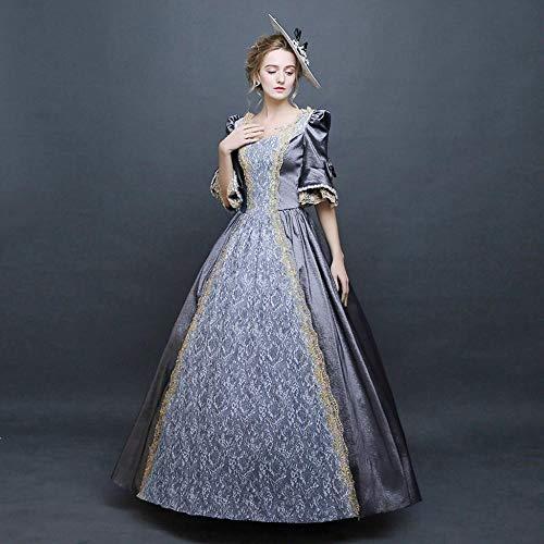 B/H Disfraz Renacentista Cosplay de Halloween,Vestido Vintage Medieval Corte renacentista-Pink_M,Vestido Medieval para Fiesta Carnaval