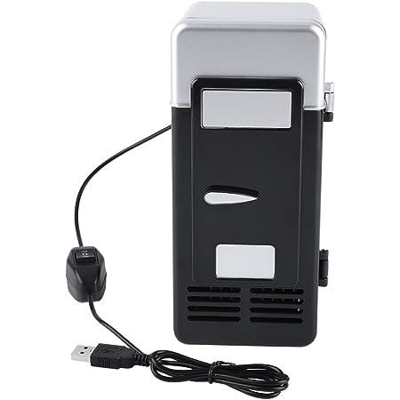 Mini Fridge, Portable Small LED USB Refrigerator Car Fridge, Drinks Beverage Cans Cooler Suitable for Car/Office/Home(Black)