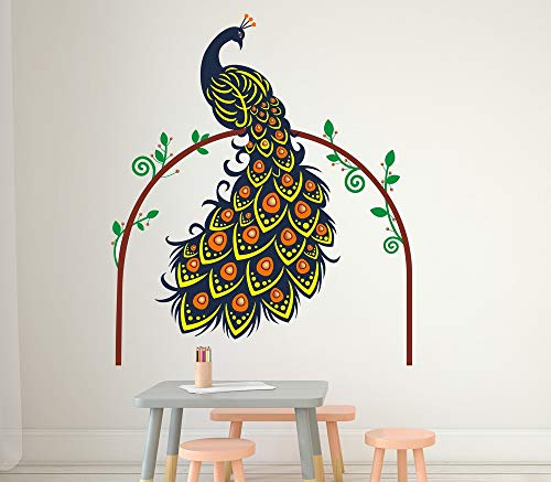Solimo Wall Sticker for Living Room (Peacock in the Woods, Ideal Size on Wall - 100 cm x 120 cm)