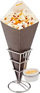 Conetek 11.5-Inch Eco-Friendly Black Finger Food Cones with Built-in Condiment Dipping Pocket: Perfect for Appetizers – Food-Safe Paper Cone – Disposable and Recyclable – 100-CT