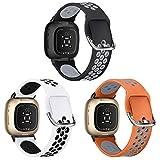 XIMU Bracelets de sport compatibles avec Fitbit Versa 3 & Sense, lot de 3 bracelets de montre en silicone souple, légers, respirants, pour homme et femme