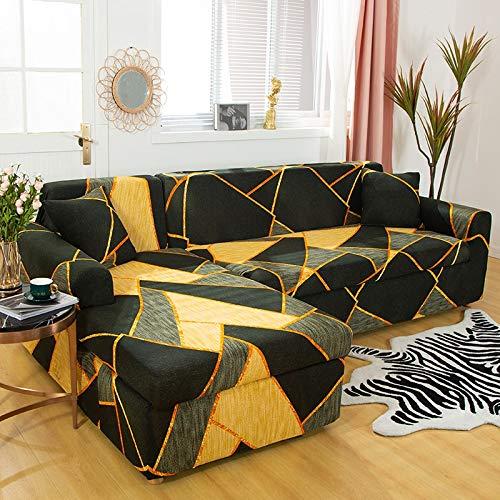 ASCV Funda de sofá elástica geométrica para Sala de Estar Funda de sofá de Esquina Funda de sofá en Forma de L Funda de sofá A7 1 Plaza