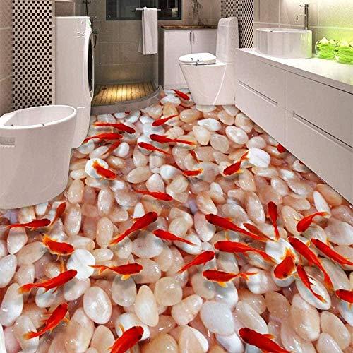 ZHEN WALLPAPER PVC Autoadhesivo Impermeable 3D Piso azulejo Papel Tapiz Cocina baño pez Dorado Guijarro Piso Pintura Mural Pegatinas decoración del hogar 250 cm x 175 cm (98.4x68.9 Pulgadas)