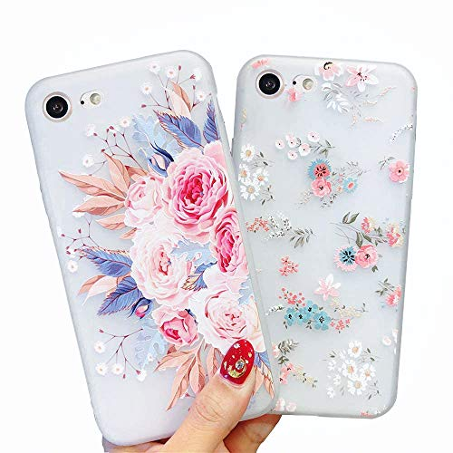 Pepmune 2 Pack for iPhone 6 Case iPhone 6S Case Girls Phone Cases Shockproof Soft Silicone Case Slim Fit Phone Case Fashion 3D Flowers Matte Protective Case Cover for Women
