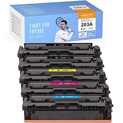 MyCartridge PHOEVER Tóner compatible para HP 203A CF540A CF541A CF542A CF543A para HP Color Laserjet Pro MFP M281fdw M254dw M254nw M281fdn M281cdw M280nw M254dn M281 (2 Negro Cian Magenta Amarillo)