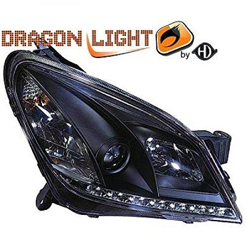 Redcatparts 1806586 HD koplampenset Opel Astra H bouwjaar: 04-09 met LED dagrijlichtstrip motoren voor elektrische lichtbreedteregeling met R87 goedkeuring Lampen: H1 H1, helder - zwart