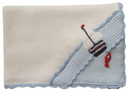 Powell Craft Couverture de landau tricotée à la main motif bateau