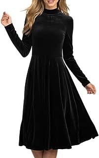 Womens Vintage High Waist Velvet Dresses Long Sleeves High Neck Pleated Slim Midi Dress