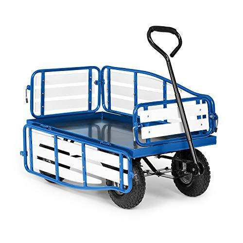 Waldbeck Ventura Handwagen Bollerwagen Einkaufswagen, extra breite Reifen: 9 cm, klappbare Seitenteile aus Wood-Plastic-Composite, Ladefläche: 50 x 100 cm / 0,5 m², Rahmenhöhe: 32 cm, blau