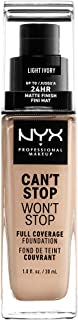 NYX Professional Makeup Can't Stop Won't Stop Full Coverage Liquid Foundation - 04 Light Ivory