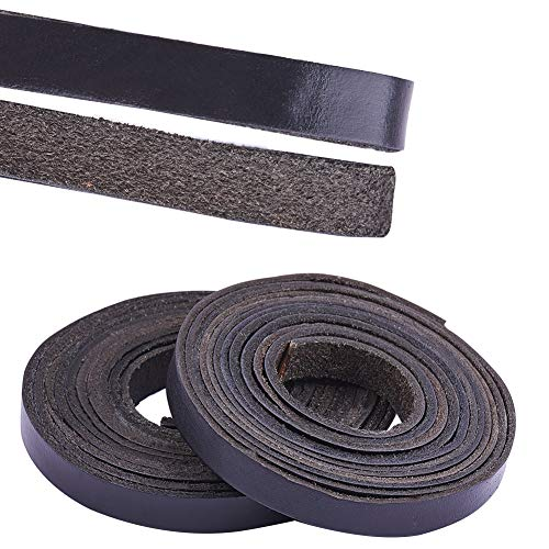 PandaHall Elite & reg Rindslederband, Lederband, schwarz, 10x2.5mm, 2m / Rolle, 2 Rollen/Set